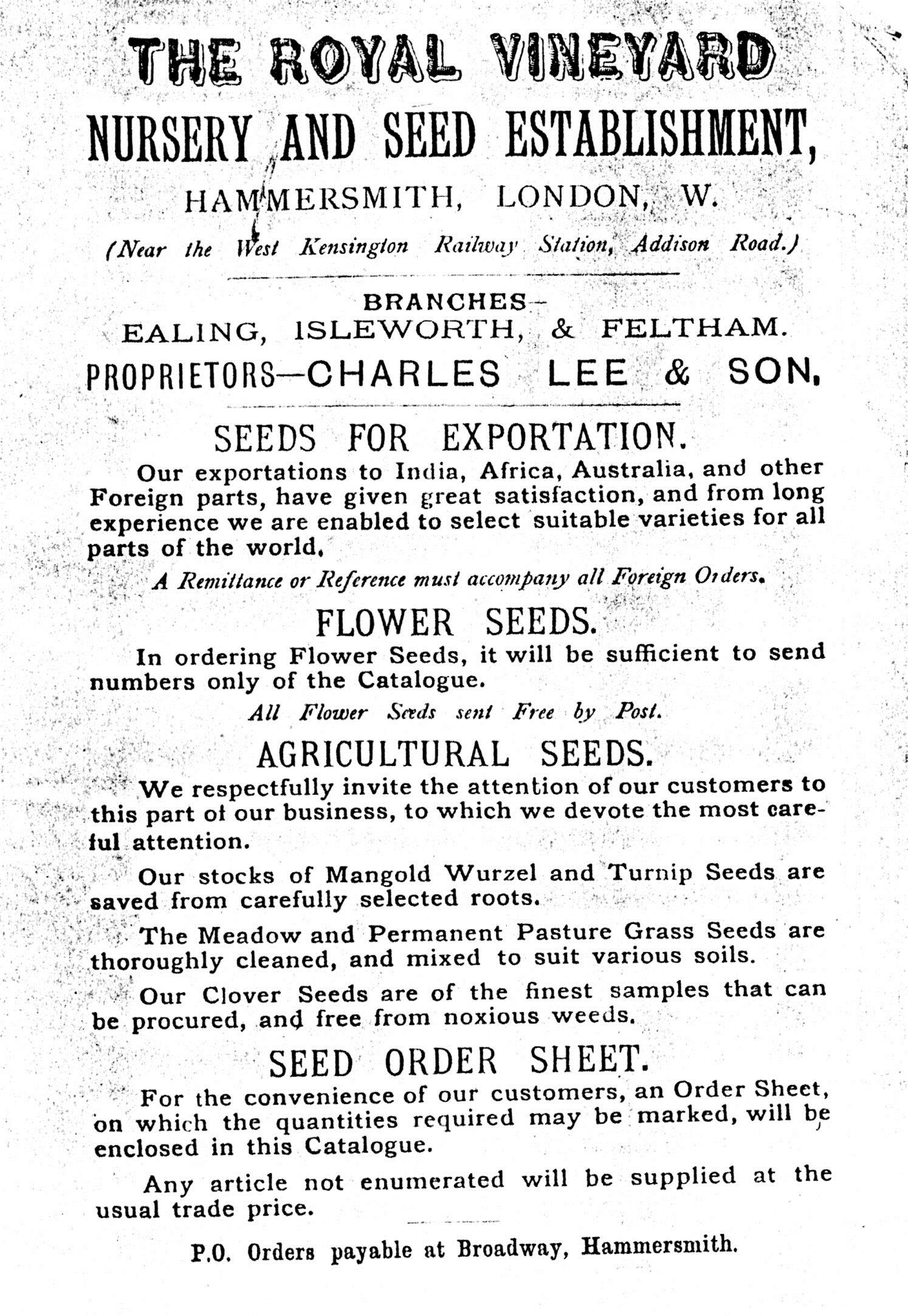 Charles Lee and Son's catalogue